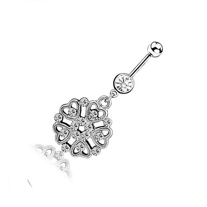 Diamond Rose Belly Buttonbelly Button Rings Navel Piercing Jewelry Q00960
