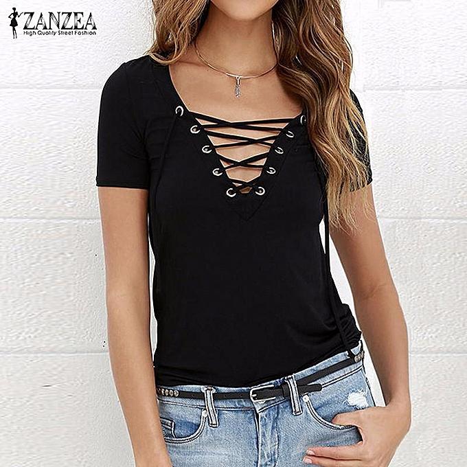 df42ac49 ... Short Sleeve Casual Tops Tees Plus Size (Black) · ZANZEA New Arrival  Blusas Femininas Shirt Women Blouses Summer Sexy Shirts V-Neck Lace Up