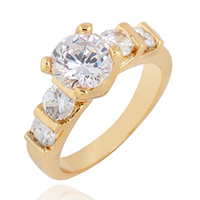 6222ecd3f Simple Four Claws Round Zircon Finger Ring Women Trendy Lovely Engagement