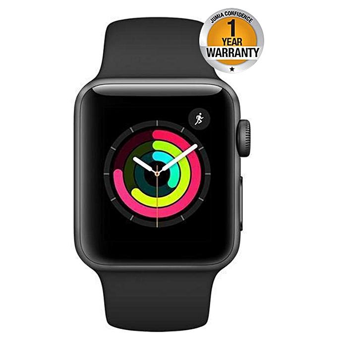 newest 779c2 33c79 Apple Watch Series 3 (GPS) 42mm Smartwatch Aluminum Case, Black Sport Band  - Space Grey