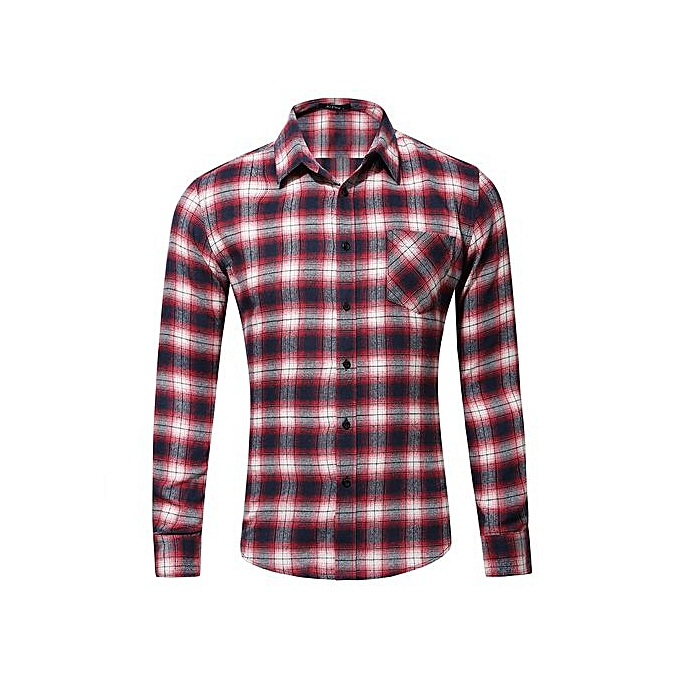 c9f5c39b6a26 Men's 100% Cotton Casual Plaid Shirts Pocket Long Sleeve Slim Fit  Comfortable Brushed Flannel Shirt