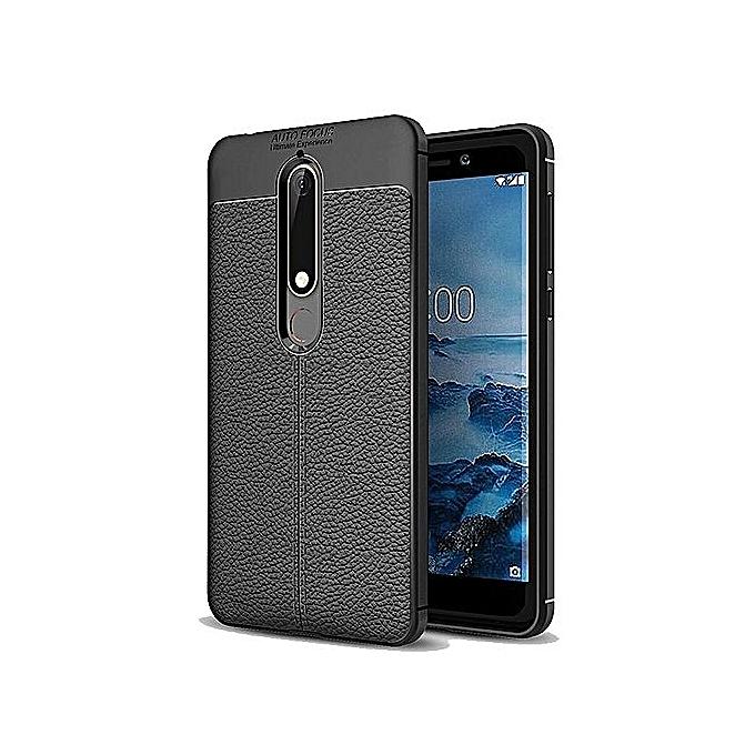 low priced f750c af317 Auto Focus Nokia 6 2018 Shock Proof Carbon Fiber Rugged Armor Soft Back  Case - black