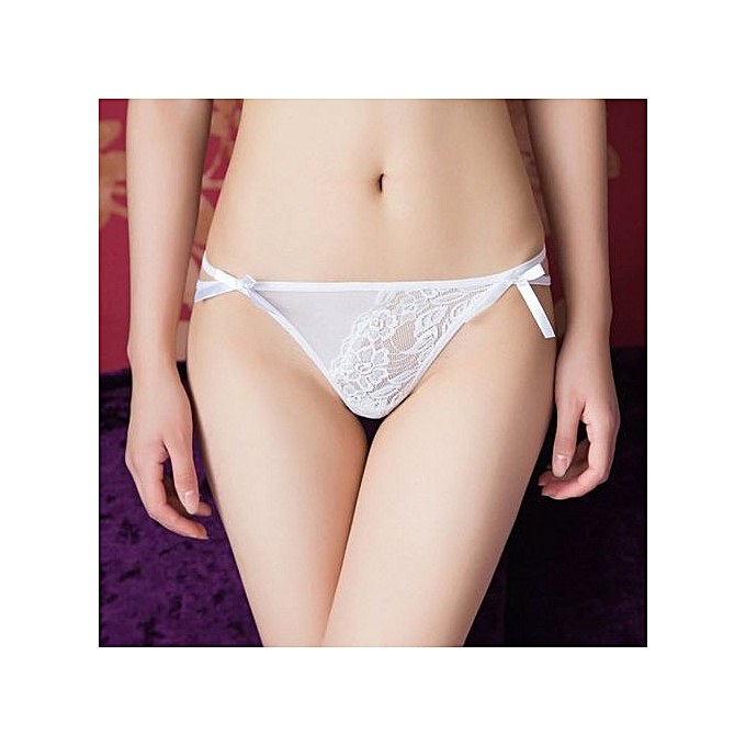2c6772be9ad Refined Sexy Rose Embroidered Transparent Panties Female Lace Temptation  Thong Pants Low Waist Bottom Cotton-