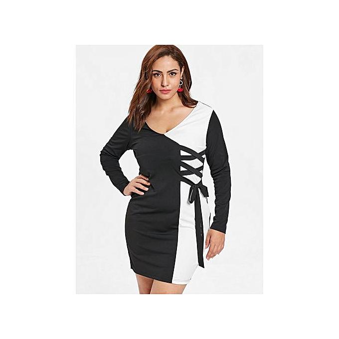 1a8ee0e9 Buy FASHION Plus Size Lace Up Color Block Sheath Dress,Black online ...