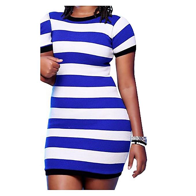 f19701e894b4 New Striped Round Neck Sweater Dress - Blue