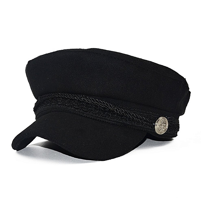 13728e38 Fashion Solid Visor Military Hat Vintage Wool Patchwork Beret Cap For Women