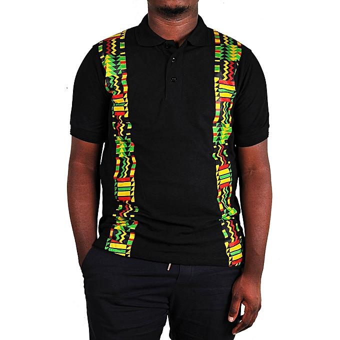 cfa6eb63cee Other Ankara Kente Kitengi African Print Men s Polo T-Shirt - Black ...