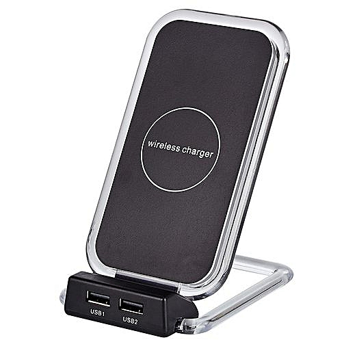 new arrival b59ff 49270 Qi Wireless Charger For IPhone X 8 Plus Charging Stand With Dual USB  Charging Adapter For Samsung Galaxy S7/S8/S6/Edge/Plus - Black