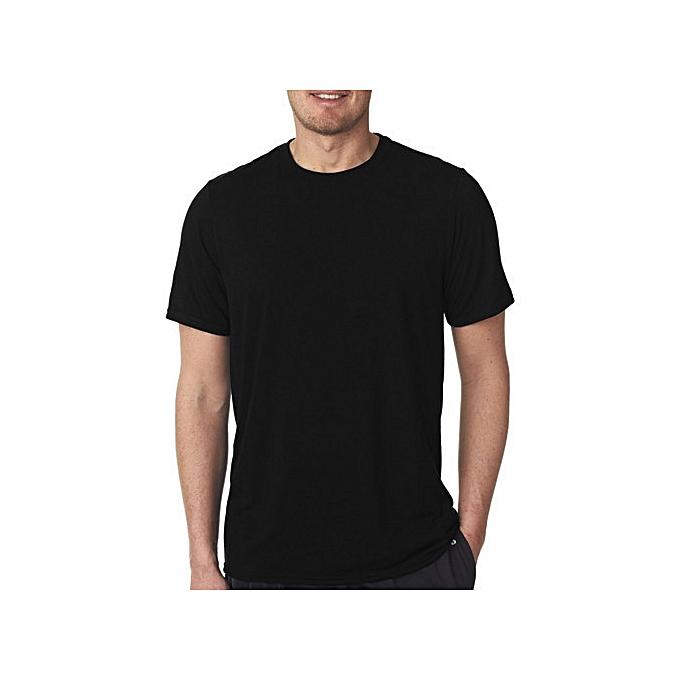 54497436883c Other Round Neck Plain Black Men s T-Shirt