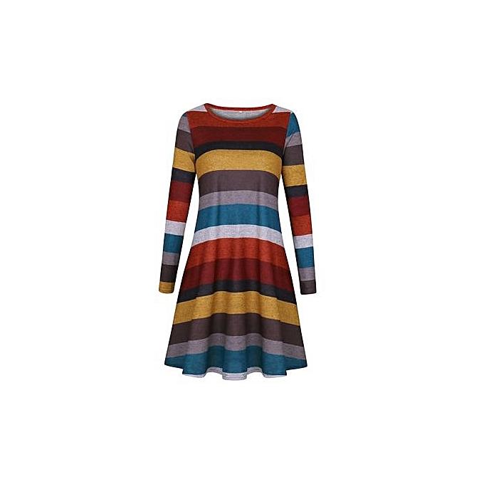 334dac82a Western Style Women's Best-selling Short Skirt Amazon Hot Style Wide  Stripes Long Sleeve Dress