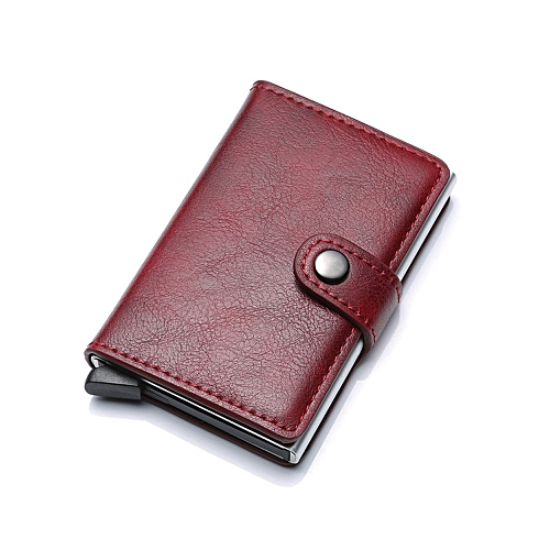 9e8a2b4541dc RFID Blocking Wallet Aluminum Alloy Automatic Men PU Leather Bank Card  Credit Card Holder