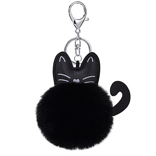 Fluffy Faux Fur Ball Keychain Cartoon Cat Plush Key Chain Bag Charm Pendant  black