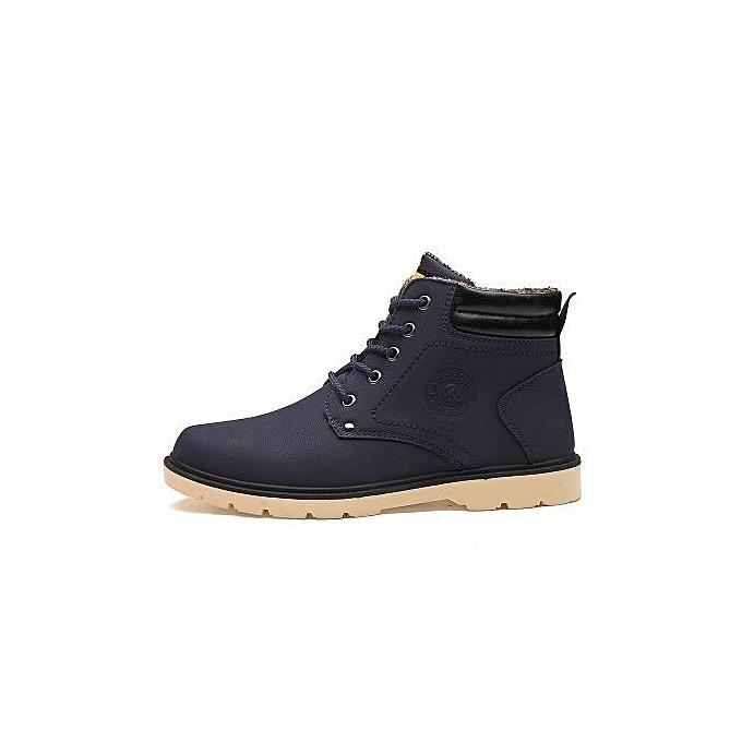 a27e9e81b35 Fashionable Men's High-top Shoes Plus Warm Velvet Martin Boots-blue