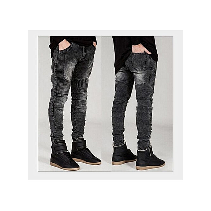f5e76d47 Refined Men's Slim Printing Fold Feet Micro Stretch Jeans Slim Fashion  Hiphop Skinny Jeans For Men