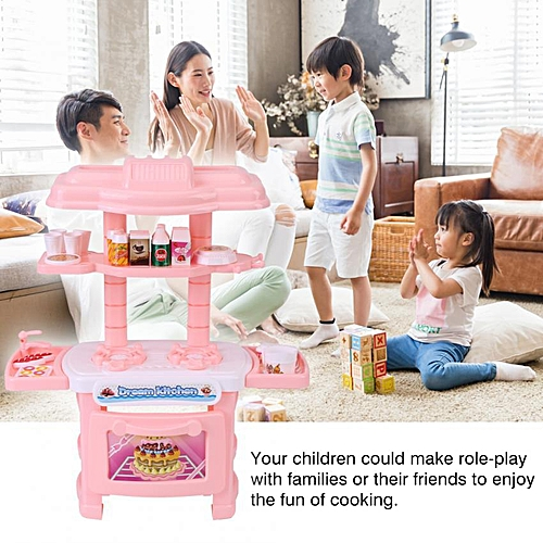 Kitchen Cooking Pretend Role Play Toy Set Plastic Lifelike Tableware Oven  Kids Gift
