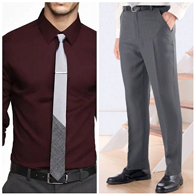 075408dbe7 Buy New APack Of Men's Formal Shirt(Maroon) And Trouser(Grey) Grey ...