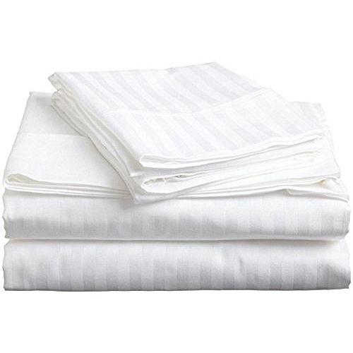 6x6 Satin Stripe Fitted Bedsheets With Two Pillow Cases, White