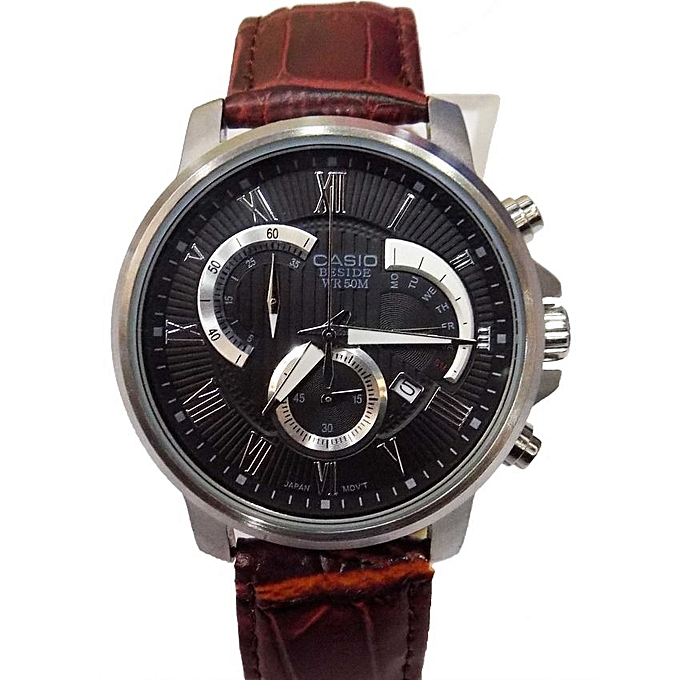 and mens no leather aibi with brown watches strap watch quartz item dark for