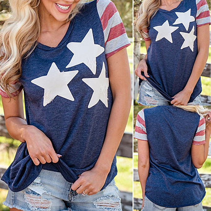 4d6b9dab0257c5 Hiamok Women Casual Patriotic American Flag Star Printed Short Sleeved Blouse  Tops