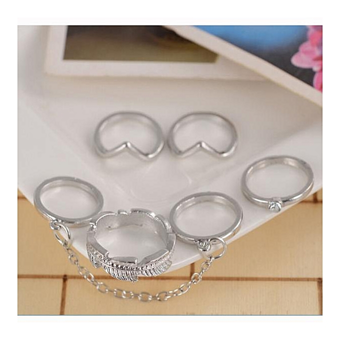 Hiamok 6pcs / Set Gold Urban Rings Crystal Above Knuckle stacking Band Midi  Mid Ring