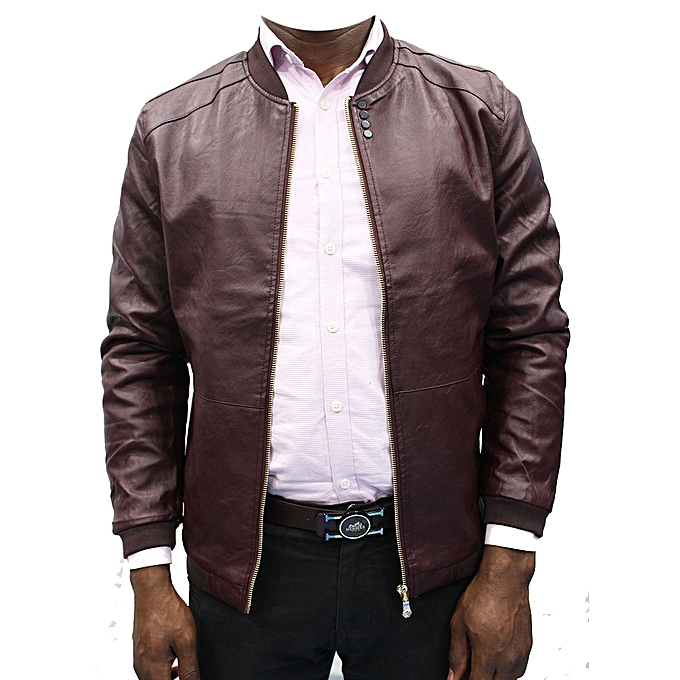 ececf28d203 Generic Men s Synthetic Leather Jackets - Maroon