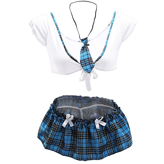 ad453f7b7e671 Sexy Lingerie Set Seductive School Girl Uniform Crop Top & Mini Skirt  Erotic Costumes Babydoll