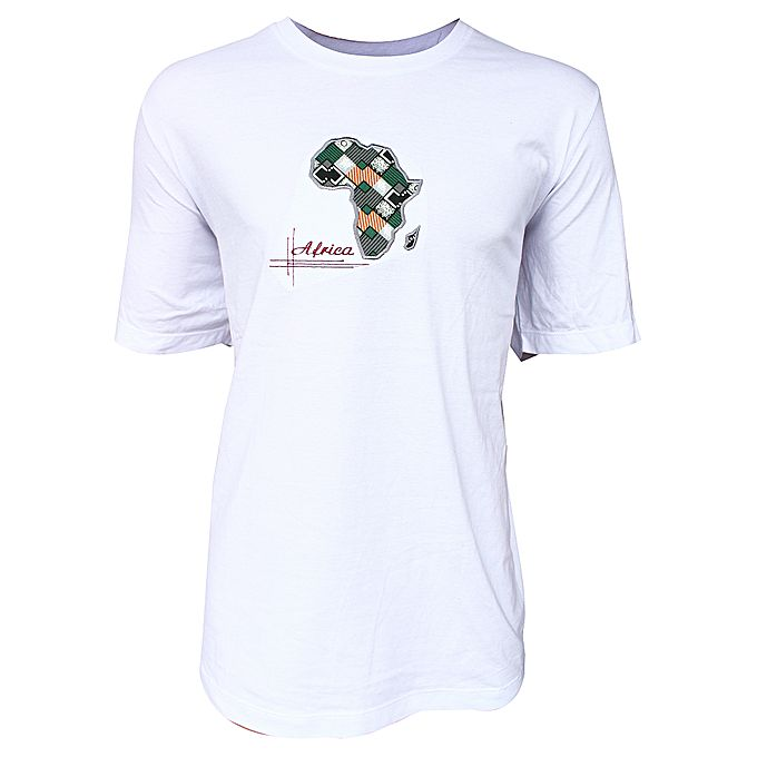 Buy africa map print custom made t shirt for men white for Best online custom shirts