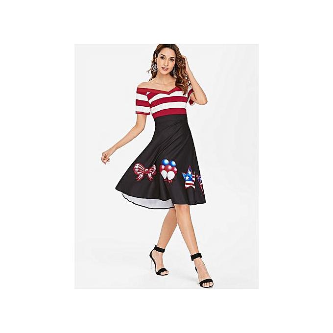 Buy Fashion Stripe American Flag Print Swing Dress,Black