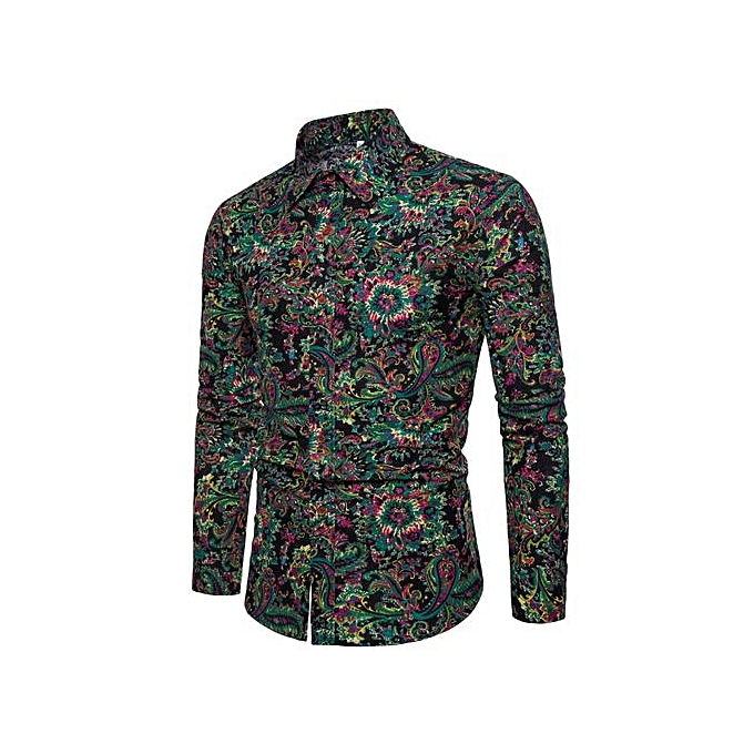 d7c8219cc Men's Fashion Floral Print Button Down Casual Long Sleeve Hawaiian Retro Flower  Shirt-black