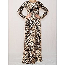 662974b9e1 Long Sleeved Animal Print Maxi Dress - Brown.