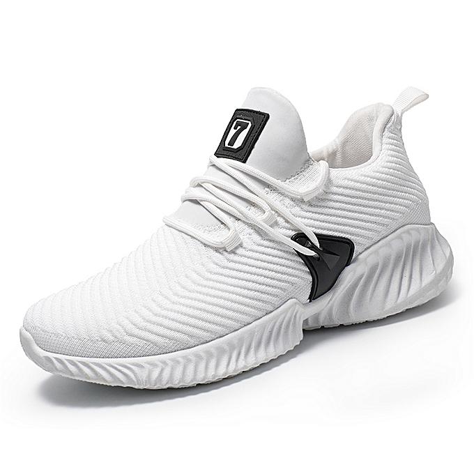 meilleur service 0a9a2 5eb48 Men's Mesh Lightweight Flying Weaving Running Sneakers - White