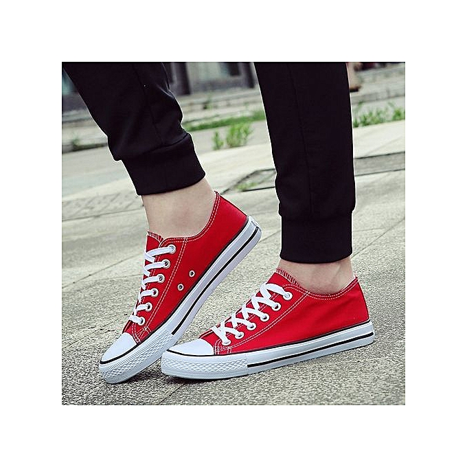 fcc41c20e1b low-cut canvas shoes couple student shoes Korean version of vulcanized  classic men's shoes women's shoes-red
