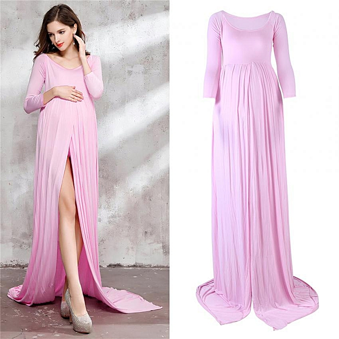05b61534d1989 Floor-Length Front Split Maternity Dress Clothes For Pregnant Photography  (Pink L)