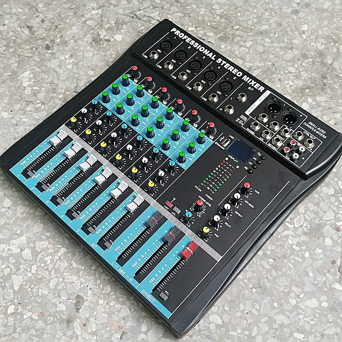 CT6 6 Channel Professional Stereo Mixer Live Mixing Studio Audio Sound  Console black
