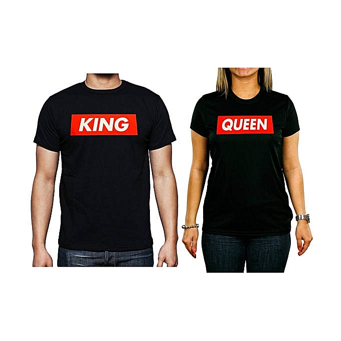 f08e86c72d Buy White Label 2 Pack of King , Queen T- Shirts - Black online ...
