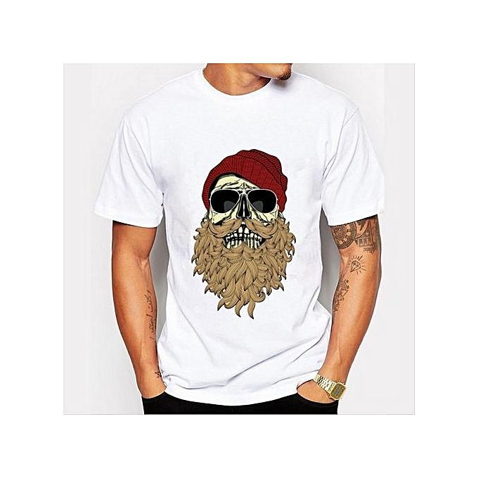 d1b2e4c61 Skeleton Beard Men's T-Shirts Print T-Shirts O-Neck Men's Clothing Basic