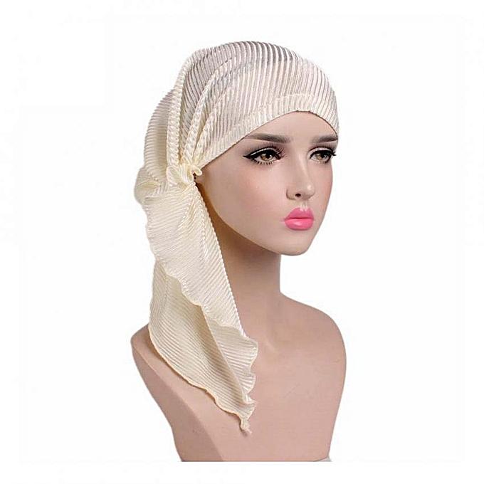c65a4344a Women Fashion Turban Head Wrap Cancer Chemo Cap Pleated Headscarf Hat  (Beige)