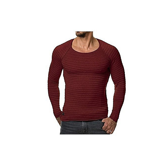 b13a15dfa Refined Mens Casual Slim Fit Crew Neck Shirt Jumper Pullover Sweater Muscle  T-Shirts Tops