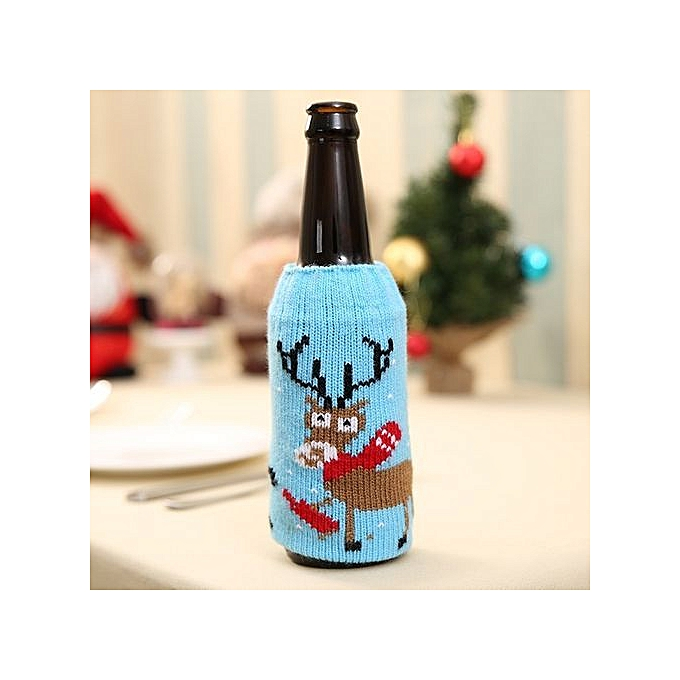 Stylish High Grade Christmas Knitted Beer Bottles Bag