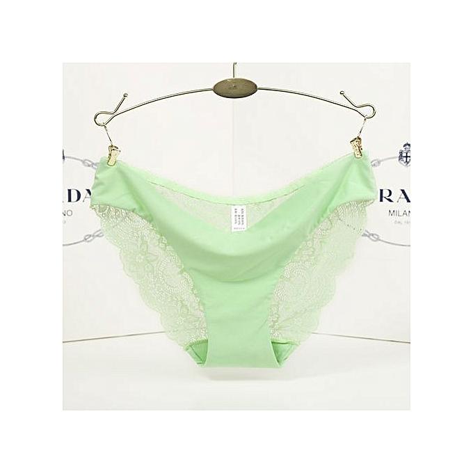 a7943da7c46f One piece ice silk seamless underwear female sense transparent lace ladies  low waist briefs-green