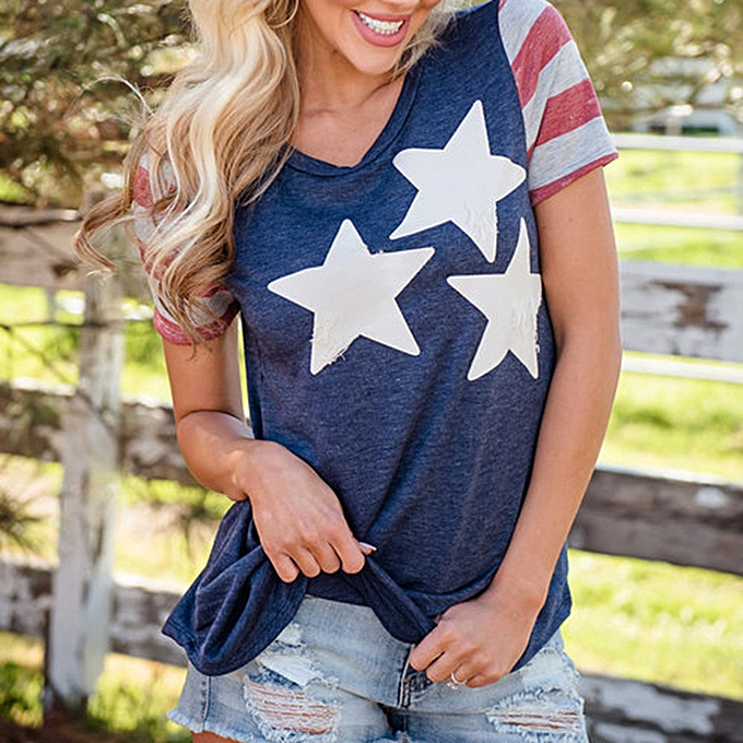 1f187317f4b94c ... Hiamok Women Casual Patriotic American Flag Star Printed Short Sleeved Blouse  Tops