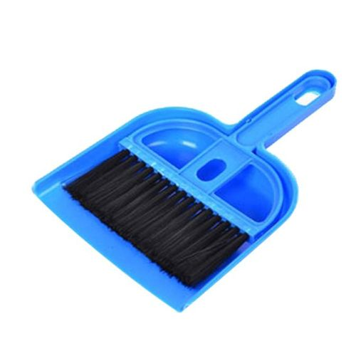 (Xiuxingzi) Mini Desktop Sweep Cleaning Brush Small Broom Dustpan Set Blue