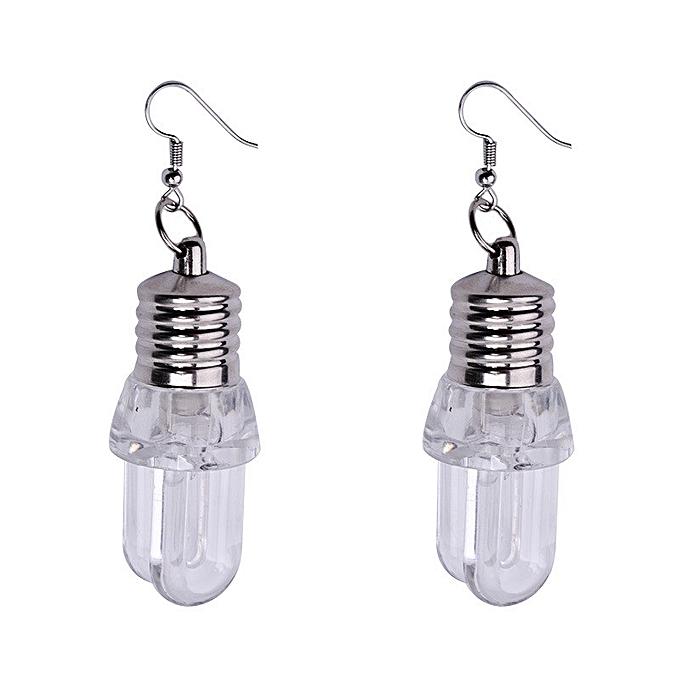 9cb2fb89302f3 Hiamok 1Pair Fashion Women Light Up Earring LED Blinking Bulb Ear Hook  Dangle Jewelry