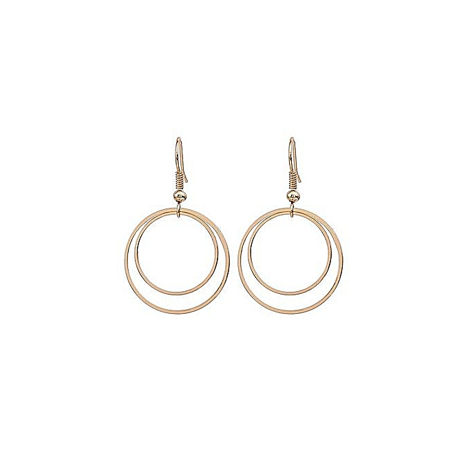 Minimalist Personality Geometry Double Circle Earrings Stud Gold