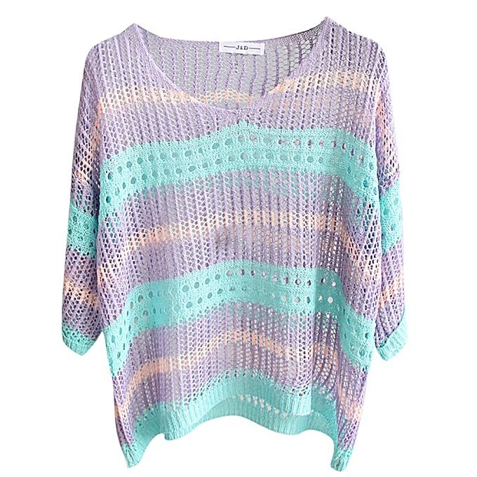 b11b3bb889e5 ... Fashion Women Top knitting Stripe Half Sleeve Sunscreen Shirt Leisure  Blouse ...