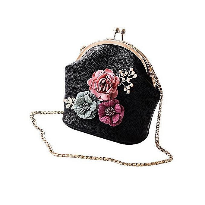 c9b98b0b3 Women Handbag Shoulder Stereo Flowers Bag Small Tote Ladies Purse—black
