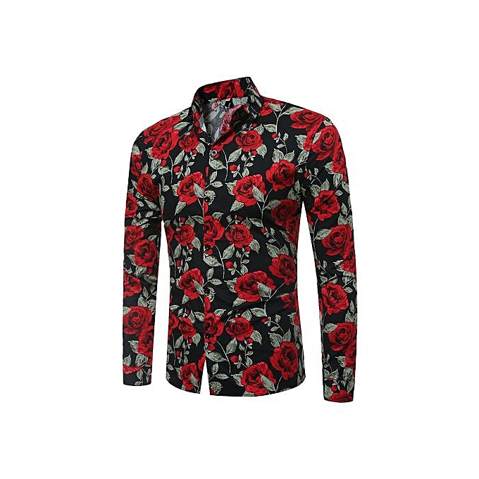 0227769ae315 Men's Shirt Floral Printing Long Sleeve Shirts Men Clothes Flowers Printed  Shirts Vintage Linen Casual Male Shirt-red