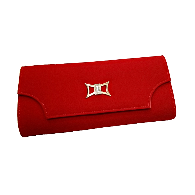 a58131a9afdce Design Collection Ladies designer suede clutch bag - Red