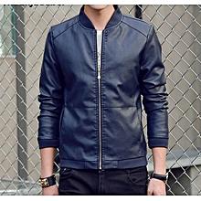 85981d010a322 Men  039 s Faux Leather Jacket - Navy Blue