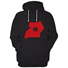 ab11ae2f00a1 Uganda Map Print Long Sleeve Hoodie - Black